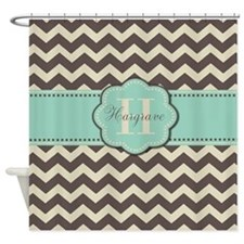 Brown Mint Personalized Shower Curtain