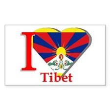 I Love Tibet Rectangle Decal
