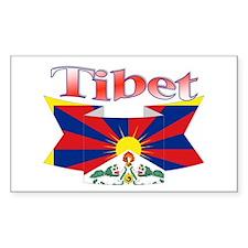 Tibetan flag ribbon Rectangle Decal