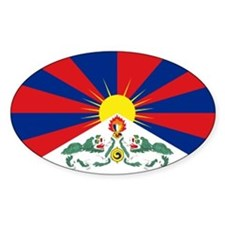 Tibet flag Oval Decal