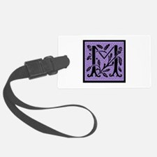 Purple Fleur Monogram M Luggage Tag