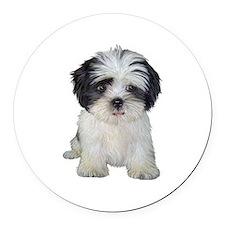 Shih Tzu (bw) pup Round Car Magnet