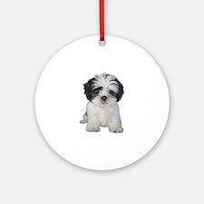 Shih Tzu (bw) pup Ornament (Round)
