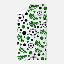 Soccer - Green, Black, White Beach Towel