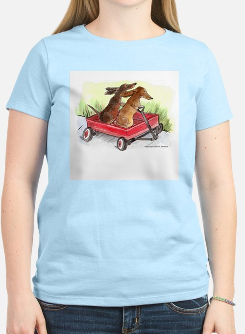 Red Wagon Dachshund Ash Grey T-Shirt