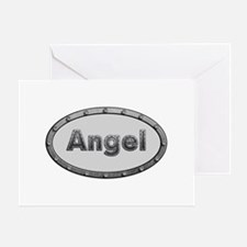 Angel Metal Oval Greeting Card