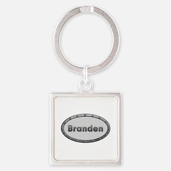 Branden Metal Oval Square Keychain