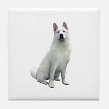 White Akita Tile Coaster