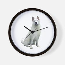White Akita Wall Clock