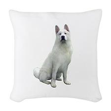 White Akita Woven Throw Pillow