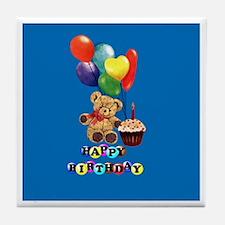 Birthday Teddy Bear Tile Coaster
