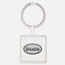Dustin Metal Oval Square Keychain
