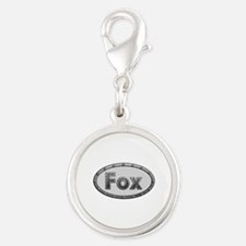 Fox Metal Oval Silver Round Charm