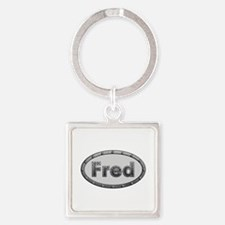 Fred Metal Oval Square Keychain