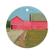 Red Barn Round Ornament