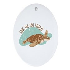 Save the Sea Turtles Ornament (Oval)