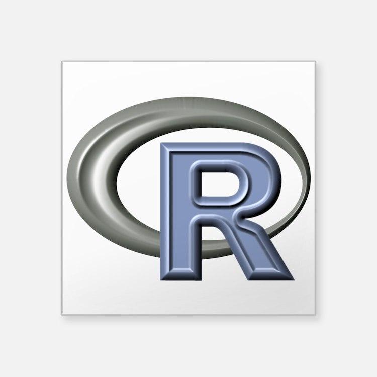 "R Programming Language Logo Square Sticker 3"" X 3"""