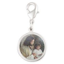 Jesus with child Silver Round Charm