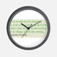 Ben Franklin Writing Advice Wall Clock