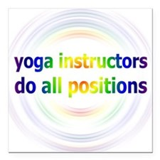 "Yoga Positions Square Car Magnet 3"" x 3"""