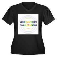Yoga Positions Women's Plus Size V-Neck Dark T-Shi