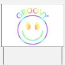 Groovy Pastel Smiley Yard Sign
