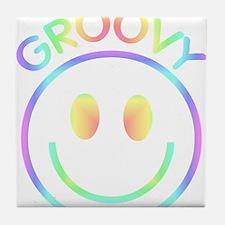 Groovy Pastel Smiley Tile Coaster