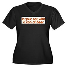 In Your Ear Women's Plus Size V-Neck Dark T-Shirt