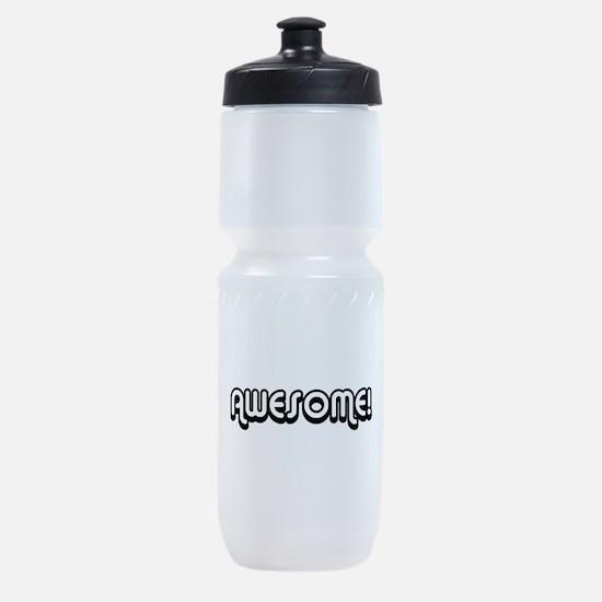 Black Awesome Center Sports Bottle