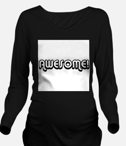 Black Awesome Center Long Sleeve Maternity T-Shirt