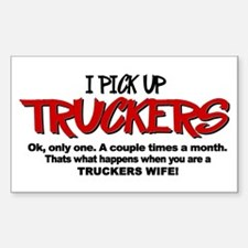 I Pick Up Truckers Sticker (Rectangle)