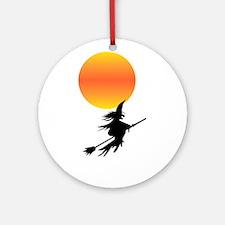 Flaming Blue Skull Goth Flip Mino Ornament (Round)