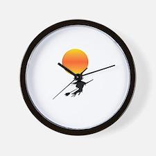 Flaming Blue Skull Goth Flip Mino Wall Clock