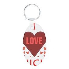 I LOVE NICK Aluminum Oval Keychain