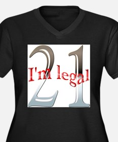 Im Legal and 21 Women's Plus Size V-Neck Dark T-Sh