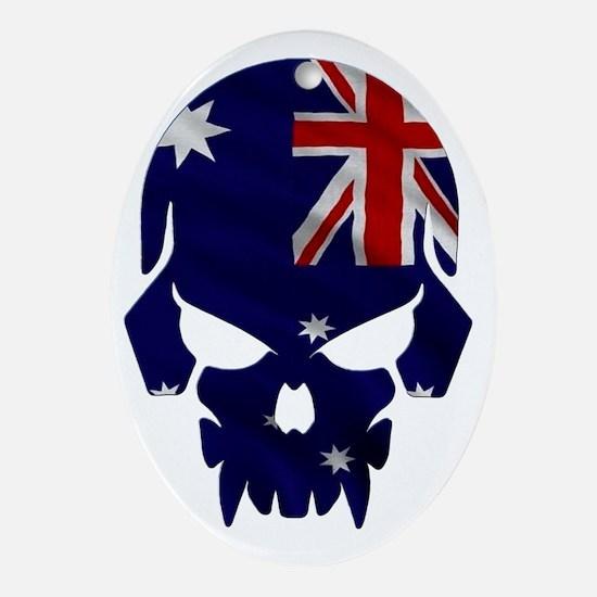 Australian Flag Skull Oval Ornament