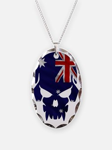 Australian Flag Skull Necklace