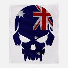 Australian Flag Skull Throw Blanket