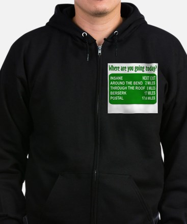 Where are you going today? Zip Hoodie (dark)
