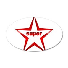Super Star Red Chrome 35x21 Oval Wall Decal