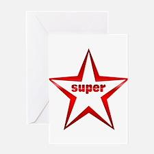 Super Star Red Chrome Greeting Card