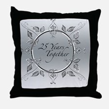 Elegant 25th Silver Wedding Anniversa Throw Pillow