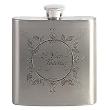 Elegant 25th Silver Wedding Anniversary Scro Flask