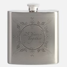 Elegant 25th Silver Wedding Anniversary Scro Flask