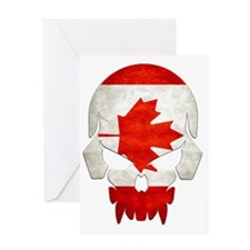 Canadian Flag  Skull Greeting Card