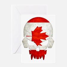 Canadian Flag  Skull Greeting Card