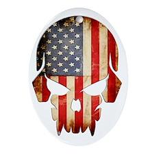 American Flag Skull Oval Ornament