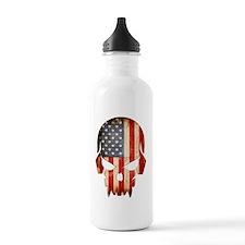 American Flag Skull Water Bottle