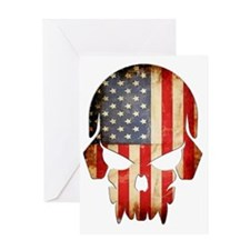 American Flag Skull Greeting Card