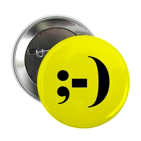 """""""Winking Emoticon Smiley"""" Button (10 pack)"""